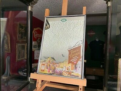 """1930's TOWN TAVERN WHISKEY Mirror Advertising Sign    """"Watch Our Video"""""""