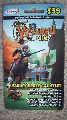 GRAND TOURNEY GAUNTLET new Wizard 101 BUNDLE Game Card Crowns Jouster's  Armor +