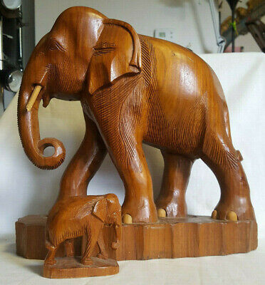 Vtg Large Wood Hand Carved Elephants Mother And Baby Hardwood