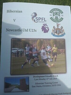 Hibernian V Newcastle United U23 Programme And Teamsheet 19/20