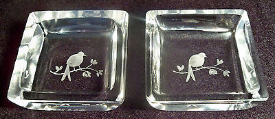 2 MID-CENTURY VAL ST. LAMBERT ETCHED FROSTED BIRDS CRYSTAL DECORATIVE TRAYS 60's