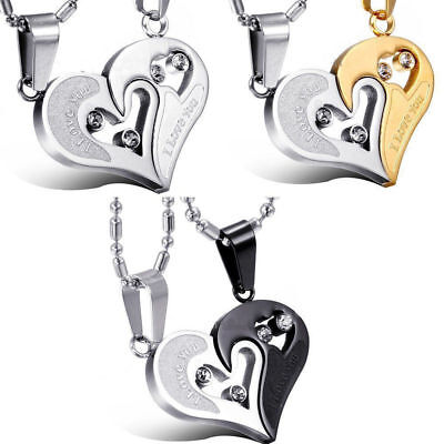 Stainless Steel I Love You Heart His and Hers Men Women Couple Pendant Necklace