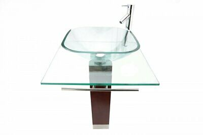 Glass Pedestal Bathroom Sink Modern Tempered Glass with Faucet and Drain