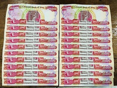 Iraqi Dinar - 500,000 (20) 25,000 Iqd Uncirculated - Quick & Free Delivery!