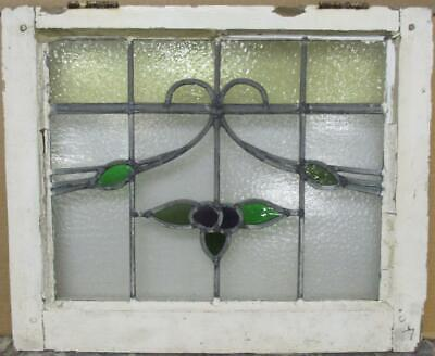 """OLD ENGLISH LEADED STAINED GLASS WINDOW Pretty Floral Sweep Design 21.75"""" x 18"""""""