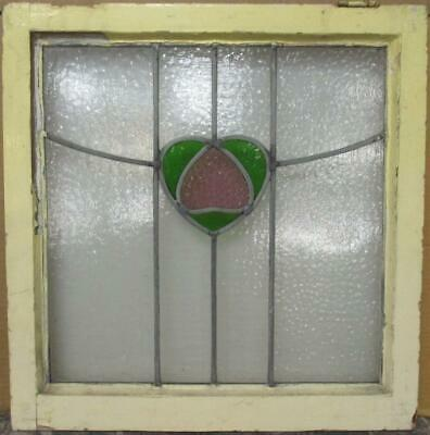 "OLD ENGLISH LEADED STAINED GLASS WINDOW Cute Heart & Sweep 20.75"" x 21.25"""