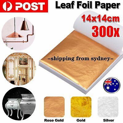 100/200/300 Sheets Rose Gold Silver Leaf Foil Paper Gilding Art Craft 14cmx14cm