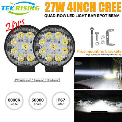 2x 27W Cree LED Work Light Bar Spot Flood 4WD Offroad Fog ATV SUV Driving Lamp