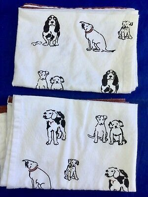2 Vtg Puppy Tea Dish Towels Cotton Puppies Beagle Basset Natural Fiber Resource