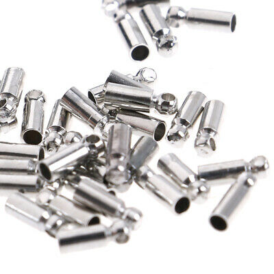 100xSilver Plated Barrel Bead Leather Cord ends caps Jewelry findings 6x2mm.PJU