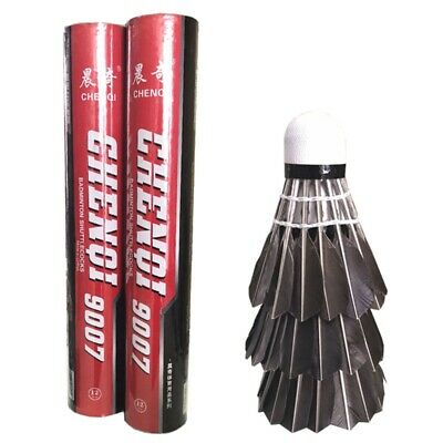 12Pcs Training Black Goose Feather Shuttlecocks Badminton Ball Game Durable Nice