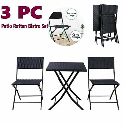 Folding Patio Rattan Bistro Set Outdoor Indoor Furniture Wicker Table Chair Set