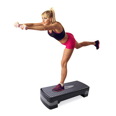 27'' Fitness Aerobic Step Home Gym Adjust Exercise Stepper w/ Risers 4''- 6''