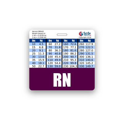 RN PURPLE BADGE Buddy Horizontal w/ Height & Weight Conversions