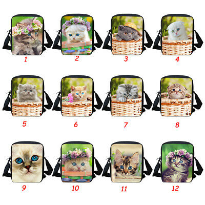 Girls Small Shoulder Messenger Bag Women Handbag Purse Cute Cat Sling Satchel
