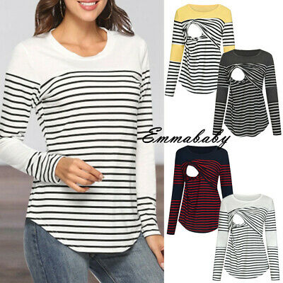 Pregnant Maternity Clothes Women Nursing Top Breastfeeding T-Shirt Stripe Blouse