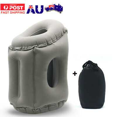 Inflatable Air Travel Pillow Cushion Neck flight Comfortable Support Nap + Bag
