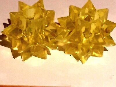 LUCITE CANDLE HOLDERS Mid Century Modern YELLOW Starbursts 1960s NEVER USED*
