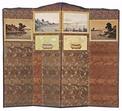 Antique large Victorian Chinoiserie C1900 mahogany dressing screen