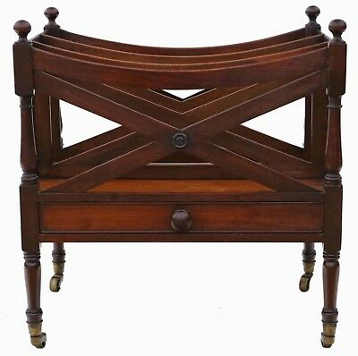 Antique fine quality Georgian / Regency C1820 mahogany Canterbury magazine rack