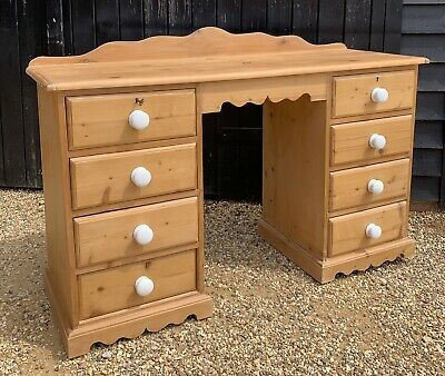 Solid Pine Kneehole Desk / Dressing Table With Shaped Ledge Back
