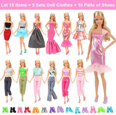 Barwa Items 5 Sets Casual Fashion Clothes With 10 Pair Shoes For Barbie Doll