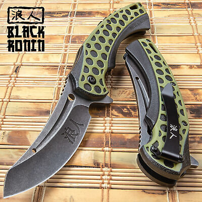 "9"" SPRING ASSISTED OPEN Folding Pocket Knife Razor Cleaver Combat Tactical NEW"