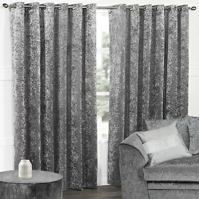 Pair of Plain Crushed Velvet Thermal Blackout Eyelet Ring Top Curtains, Silver