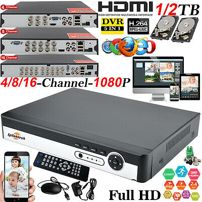 Smart CCTV DVR 4/8/16 Channel AHD 1080N HDMI HD Outdoor Home Security System Kit