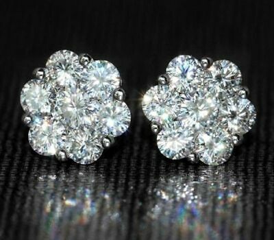 1.50Ct Round VVS1/D Diamond Cluster Flower Stud Earrings 14K White Gold Finish!