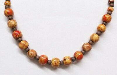 Lovely Vintage Wood Bead Painted beads Choker toggle strand Necklace