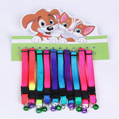 Pet Cute Dog Puppy Cat Kitten Adjustable Rainbow Collar with Buckle Bell Sa G2L6