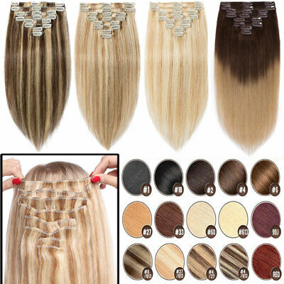 Clip in 100% Real Natural Remy Human Hair Extensions 8Pcs Long Straight UK STORE