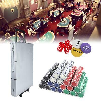 1000 Poker Chips Set Play Cards Poker Buttons 6 Casino Dices w/ Aluminum Case