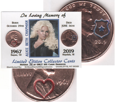 2019 Lincoln Cent Beth Chapman Memorial Keepsake Collector Coin Card  #MEM-67.19