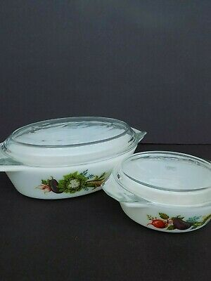 JAJ Made in England Pyrex casserole dishes with lids--Lot of 2 Tuscan Garden