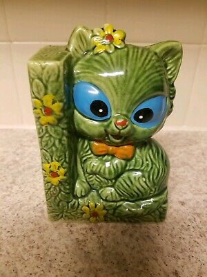 Green Mid Century Kitschy Cat  Bookend Ceramic
