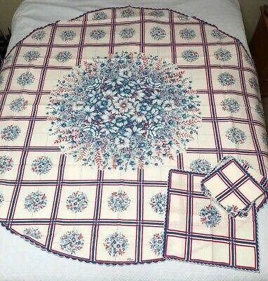 Vtg NEW Heavy Linen Tablecloth Turquoise Red Blue Floral W/ 8 Napkins Scalloped