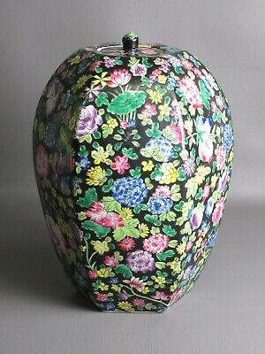 Large Jar Jar Hexagon Porcelain Chinese Rich Painted Floral Xx Century