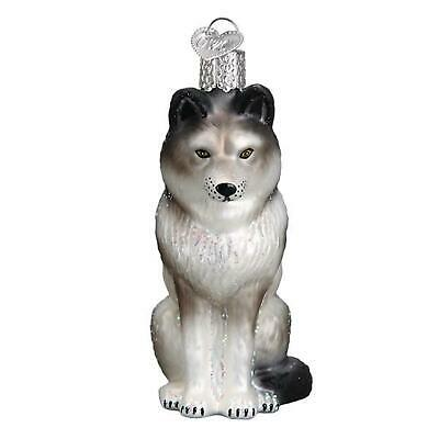 Old World Christmas Sitting Wolf Holiday Ornament Glass
