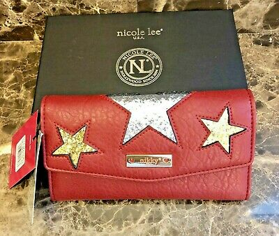 "NWT~Nicole Lee~NIKKY~ ""XENA"" Red Glitter Star Wallet w/RFID Blocking + Gift Box"