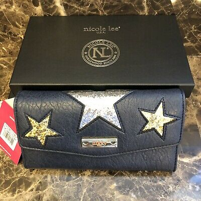 "NWT~Nicole Lee~NIKKY~ ""XENA"" Navy Glitter Star Wallet w/RFID Blocking +Gift Box"