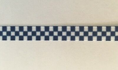 """Blue and White Chequered Ribbon 9mm wide  3/8"""" 1m Long"""