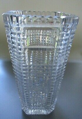 """Heavy Lead Crystal Glassware Vase 9"""" Height & 4.5"""" Diameter Large Square-Rounded"""