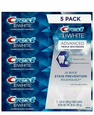 Crest 3D White Advanced Whitening Toothpaste  5-pack Of  6 oz / 170g Each