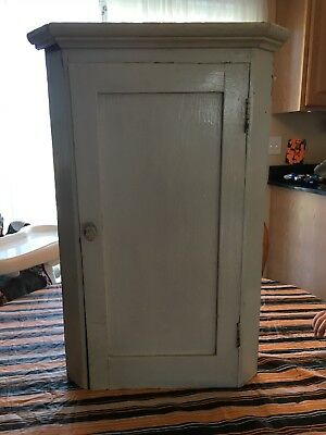 Antique Primitive Vintage Chippy Shab Chic Distressed Corner Cabinet Wood/Metal
