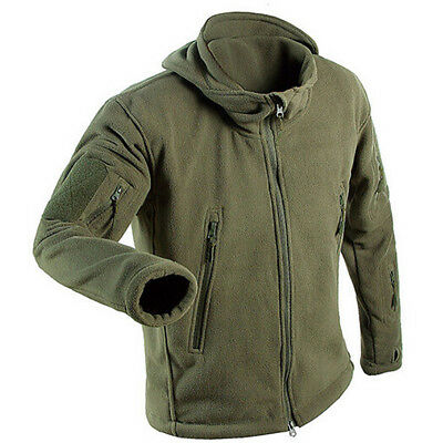 CO_ Men Hunting Outdoor Polar Fleece Military Army Tactical Jacket Winter Coat E