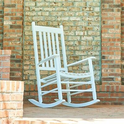 Outdoor Seating Furniture with Handcrafted Solid Wood Rocking Chair White Tone