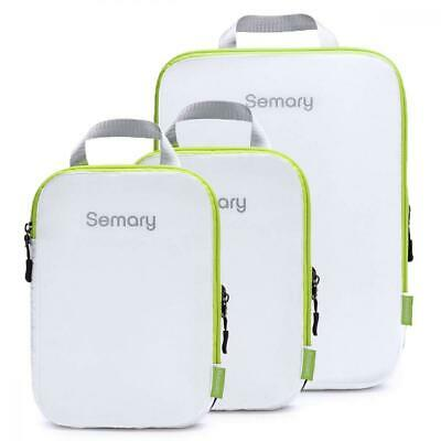 Compression Packing Cubes 3 Set Travel Organizer L+M+M, White and Green
