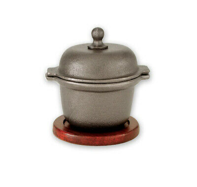 Cast Iron Garlic Prawn Pot w Wooden Base 110x120mm Restaurant Sea Food